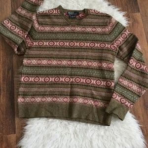 POLO BY RALPH LAUREN NECK V SWEATER SIZE  L WOOL